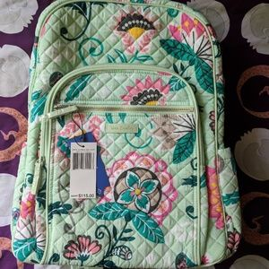 Vera Bradley Iconic Campus Backpack - Mint Flowers